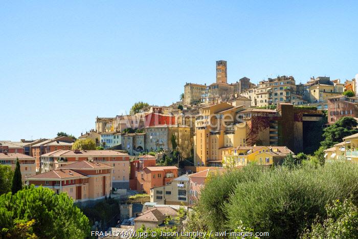 View of hilltop city of Grasse, Alpes-Maritimes, Provence-Alpes-Côte d'Azur, France.