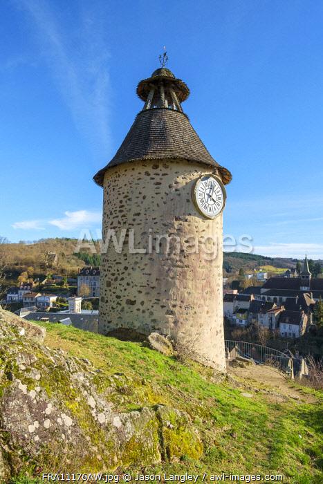 La Tour de l'Horloge the old clock tower, Aubusson, La Creuse Department, Limousin, France.