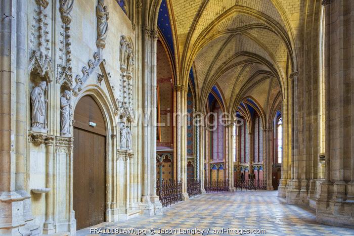Interior ambulatory of Orléans Cathedral (Basilique Cathédrale Sainte-Croix), Orléans, Loiret Department, Centre, France.