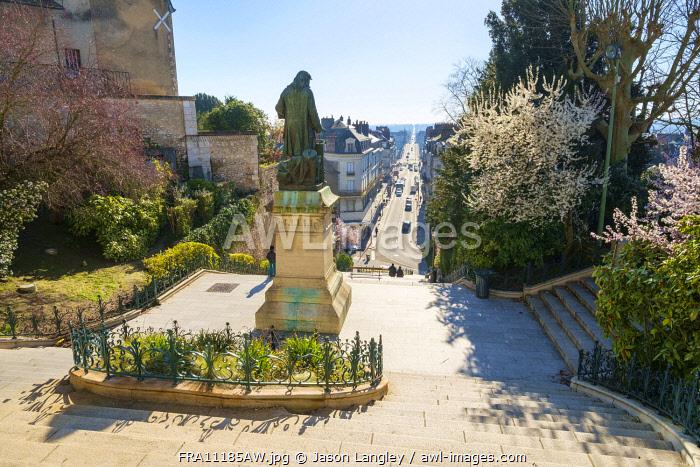 View over town of Blois from Escalier Denis-Papin, Blois, Loire-et-Cher, Centre, France.
