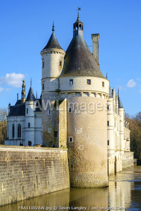 15th Century Tour des Marques at Château de Chenonceau castle on the Cher River, Chenonceaux, Indre-et-Loire, Centre, France.