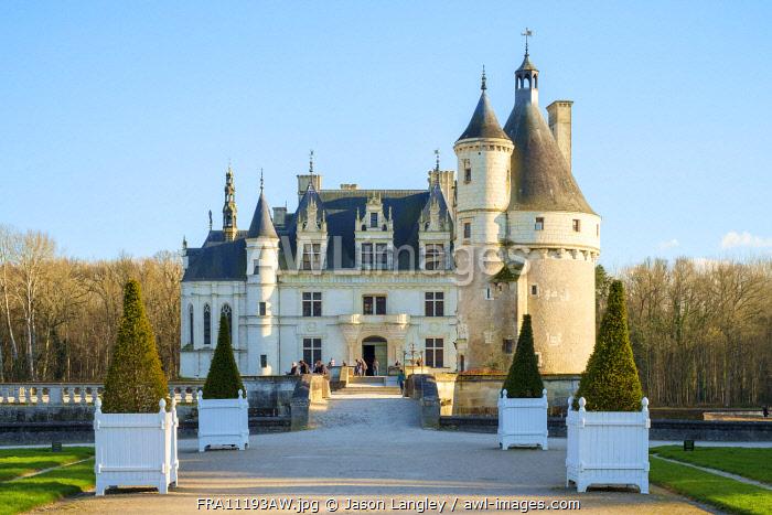 Front entrance to Château de Chenonceau castle, Chenonceaux, Indre-et-Loire, Centre, France.