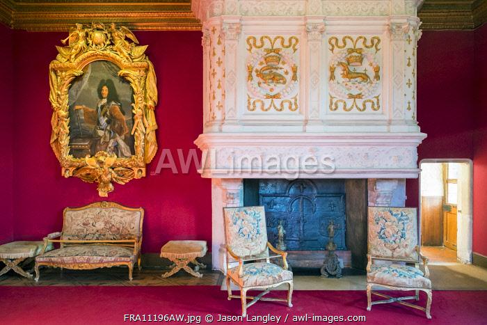 The drawing room of Louis XIV at Château de Chenonceau castle, Chenonceaux, Indre-et-Loire, Centre, France.