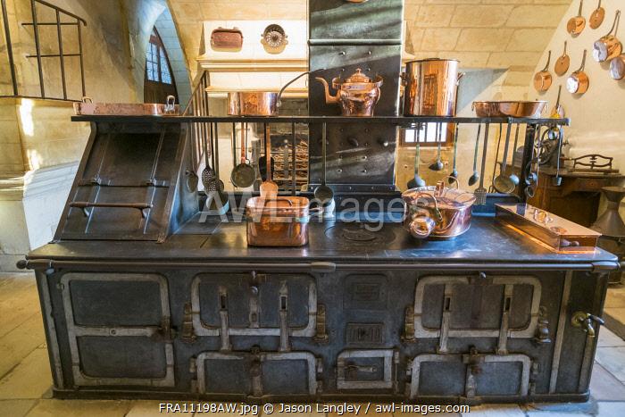Wood-fired stove in the kitchen at Château de Chenonceau castle, Chenonceaux, Indre-et-Loire, Centre, France.