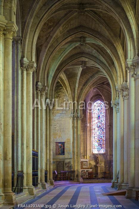 Interior ambulatory of Cathédrale Saint-Gatien cathedral, Tours, Indre-et-Loire, Centre, France.
