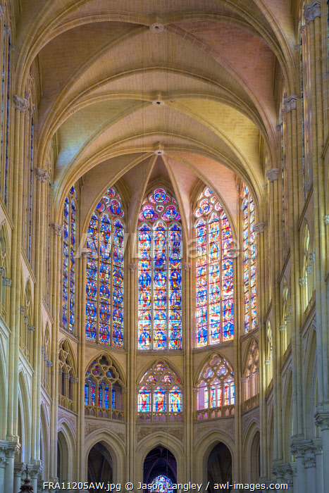 Interior apse of Cathédrale Saint-Gatien cathedral and stained-glass windows, Tours, Indre-et-Loire, Centre, France.
