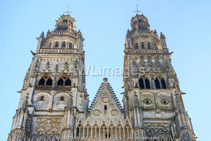 Front facade and bellowers of Cathédrale Saint-Gatien cathedral, Tours, Indre-et-Loire, Centre, France.