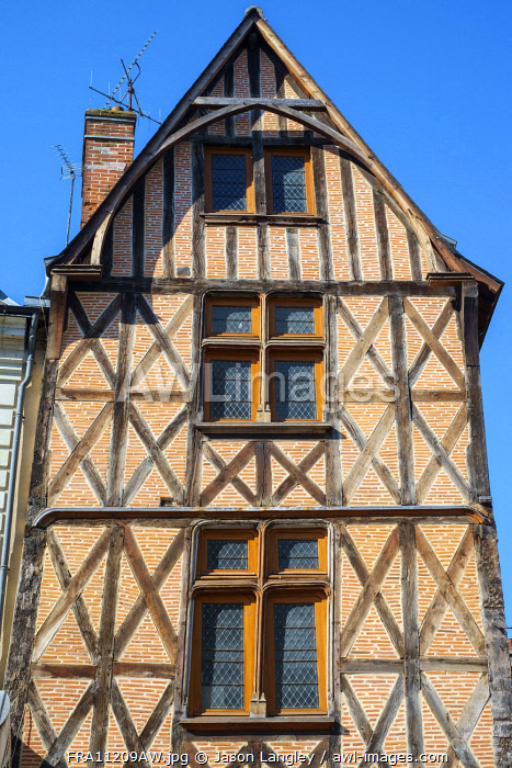 Old half-timbered and brick house, Tours, Indre-et-Loire, Centre, France.