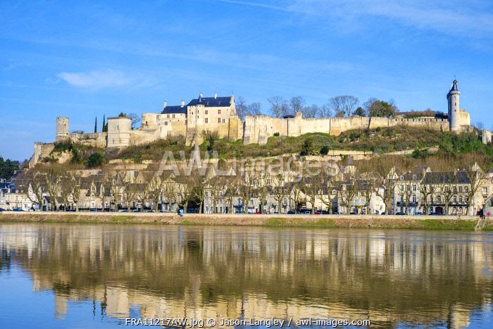 Forteresse Royale de Chinon above the town on the Vienne River, Chinon, Indre-et-Loire, Centre, France.