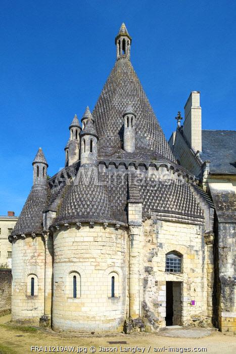 Exterior of Byzantine style kitchen building at Fontevraud Abbey, Fontevraud l'Abbaye, Maine-et-Loire, Pays-de-la-Loire, France.