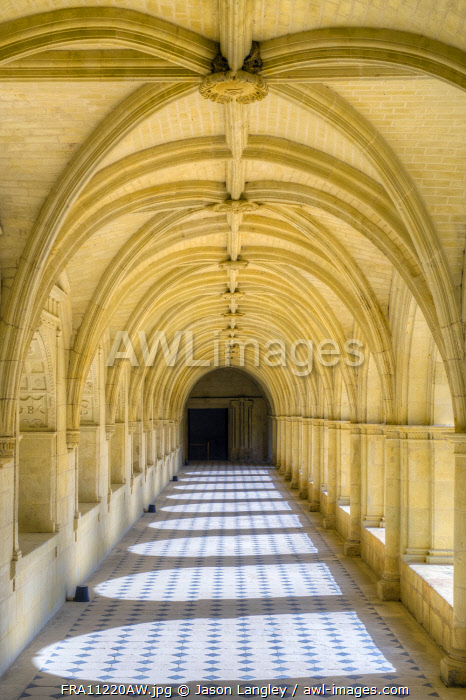 Arched interior gallery of cloister at Fontevraud Abbey, Fontevraud l'Abbaye, Maine-et-Loire, Pays-de-la-Loire, France.