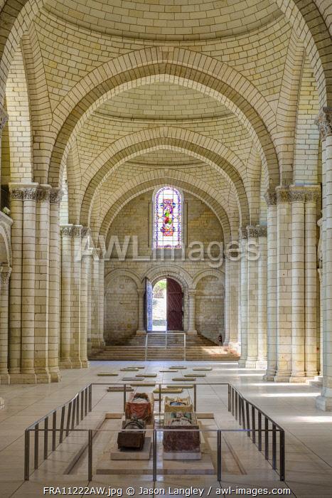 Interior nave of abbey church at Fontevraud Abbey, Fontevraud l'Abbaye, Maine-et-Loire, Pays-de-la-Loire, France.