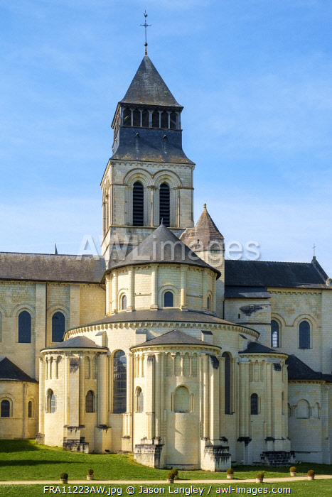 Rear view exterior of Fontevraud Abbey, Fontevraud l'Abbaye, Maine-et-Loire, Pays-de-la-Loire, France.