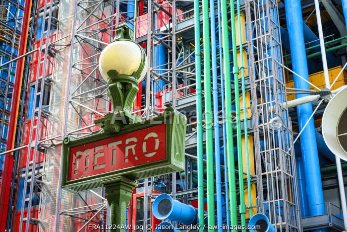 Metro Sign in front of Centre Georges Pompidou modern art museum, Paris, Île-de-France, France.