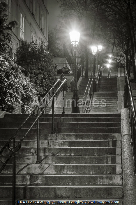 Dark stairs at night, Montmartre, Paris, Île-de-France, France