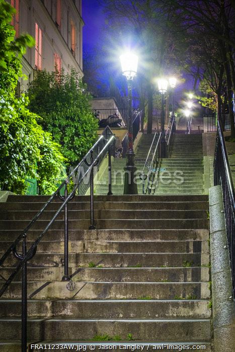 Dark stairs at night, Montmartre, Paris, Île-de-France, France