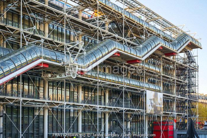 Facade of Centre Georges Pompidou modern art museum, Paris, Île-de-France, France