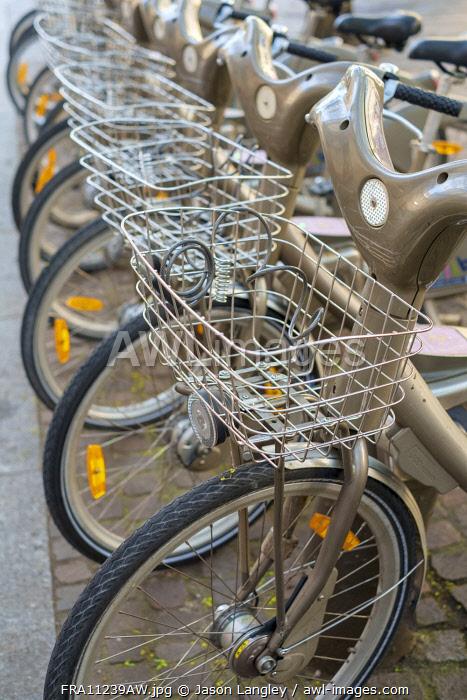 Vélib' public bicycle rentals, Paris, Île-de-France, France