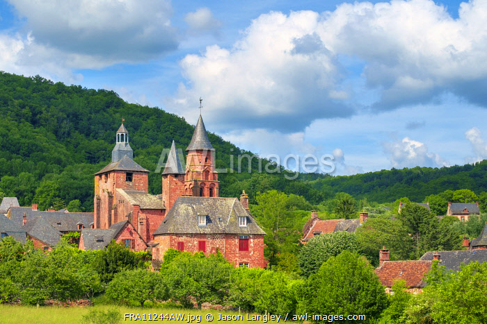 Distinctive red sandstone buildings in Collonges-la-Rouge, Corrèze, Limousin, France