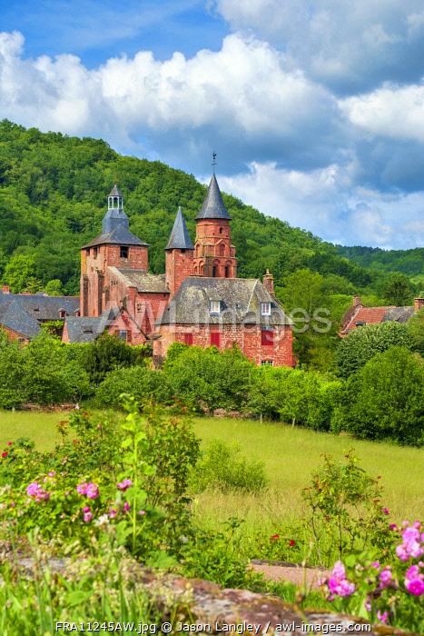 Distinctive red sandstone buildings in Collonges-la-Rouge, Corrèze, Limousin, France