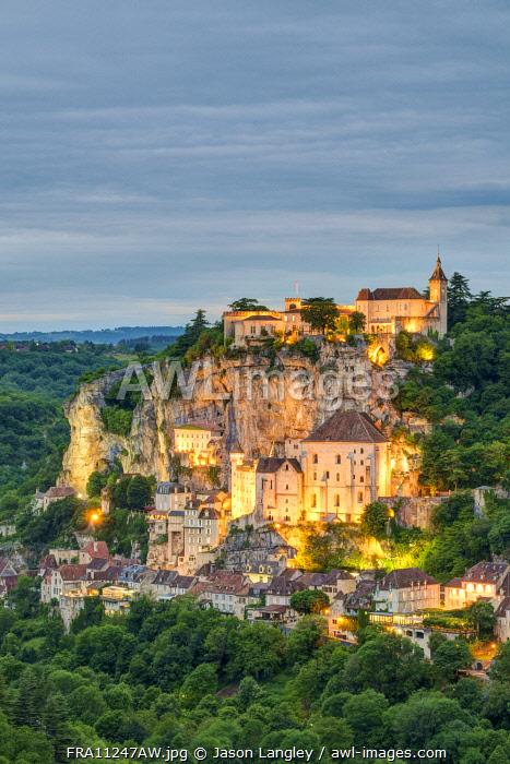 Rocamadour, pilgrimage town along El Camino de Santiago at dusk, Lot Department, Midi-Pyrénées, France