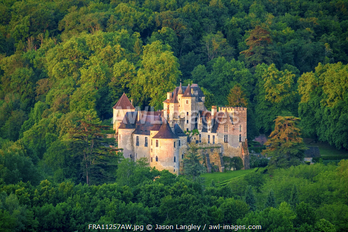 Aerial view of Château de la Malartrie castle, Vézac, Dordogne Department, Aquitaine, France