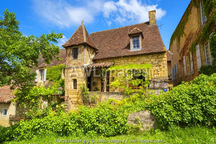 Beautiful old stone house on Rue Montaigne, Sarlat-la-Canéda, Dordogne Department, Aquitaine, France