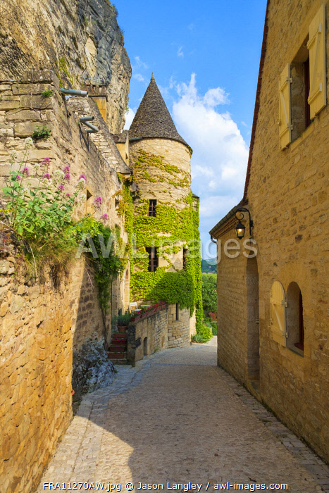 Small alleyway and stone tower in La Roque-Gageac, Dordogne Department, Aquitaine, France