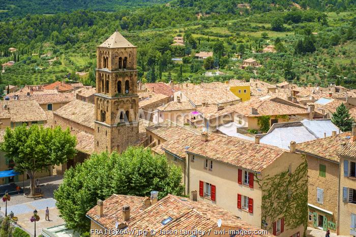 High angle view of town of Moustiers-Sainte-Marie, Alpes-de-Haute-Provence, Provence-Alpes-Côte d'Azur, France