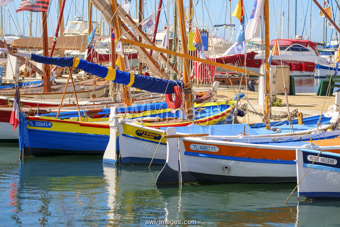 Traditional colorful wooden fishing boat in the port harbor at Sanary-sur-Mer, Var department, Provence-Alpes-Côte d'Azur, France