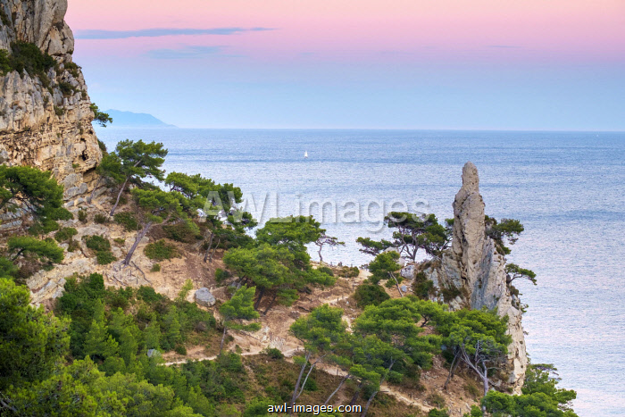 Mediterranean landscape at Calanque de Sugiton at sunset, Parc National des Calanques, Provence-Alpes-Côte d'Azur, Bouches-du-Rhône, France