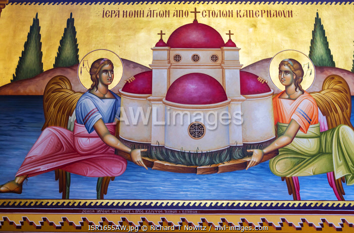 awl-images.com - Israel / Greek Orthodox Church of the Twelve Apostles.The church decorated inside with illuminated murals, Galilee, Israel.
