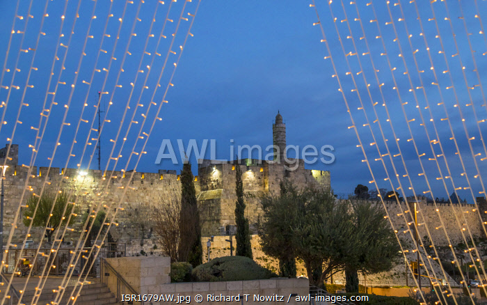 awl-images.com - Israel / Tower Of David and Western outer walls of Jerusalem framed by LED lights in Mamilla Shopping street.