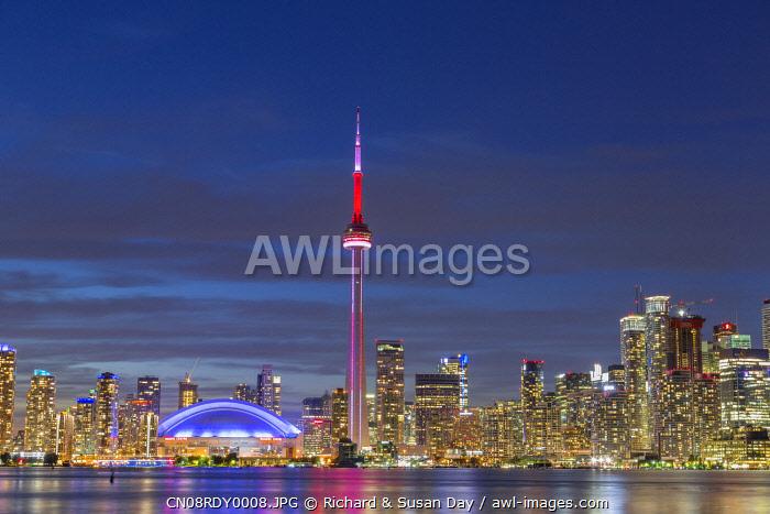 City skyline at dusk. Toronto, Ontario, Canada.