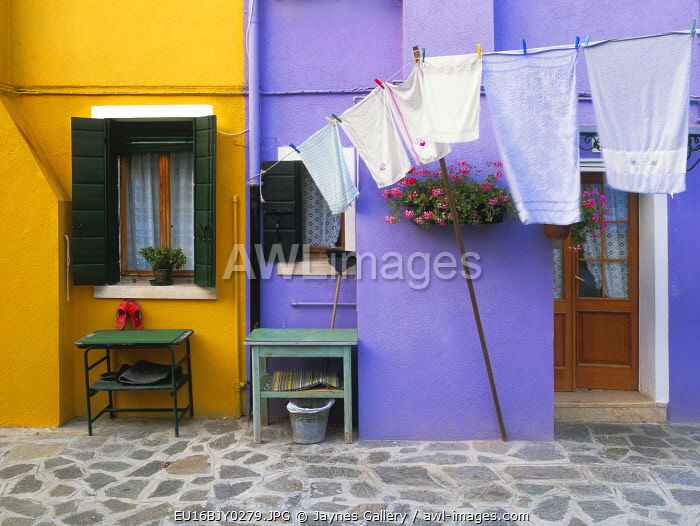 Italy, Burano. Colorful house exterior