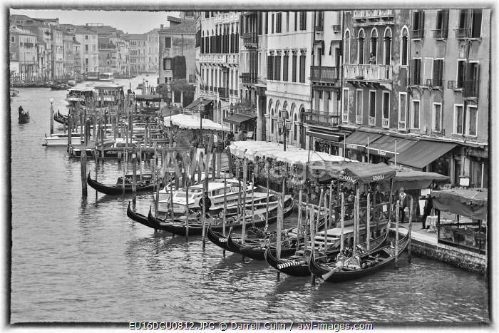 Venice, Italy. Grand Canal from Rialto Bridge with gondolas below.