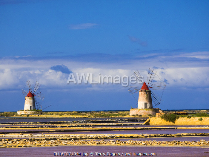 Pans of Trapani with windmills