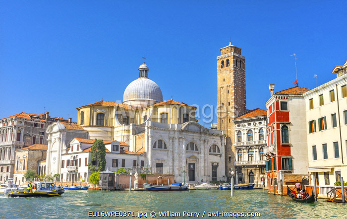 Grand Canal Santa Stefano Church Basilica, Venice, Italy. Founded in the 1200's, rebuilt in 1300's.