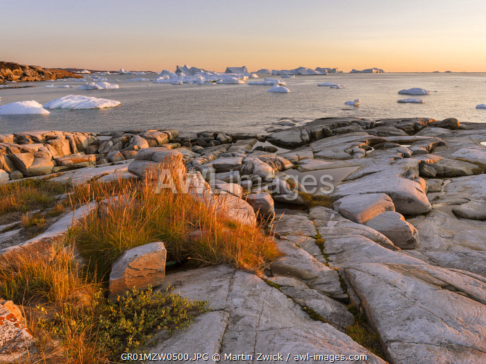 Coastal landscape with Icebergs. Inuit village Oqaatsut (once called Rodebay) located in Disko Bay. Greenland, Denmark