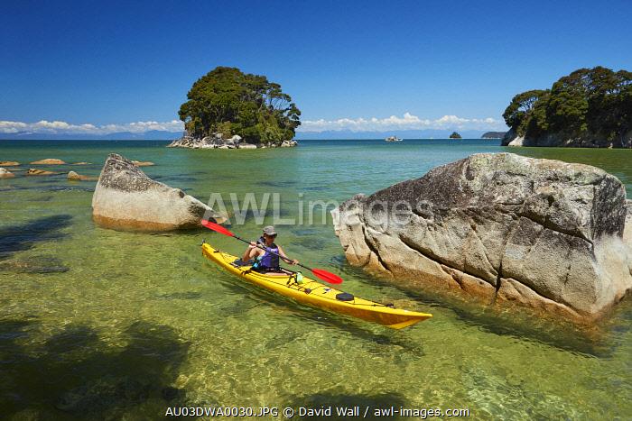 Kayaker, Mosquito Bay, Abel Tasman National Park, Nelson Region, South Island, New Zealand (MR)