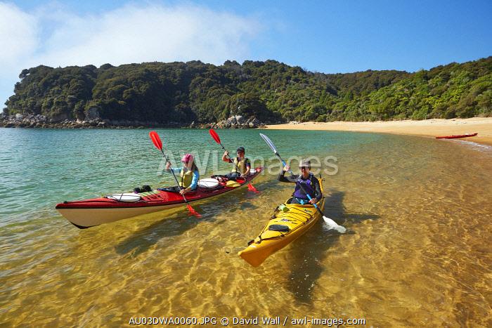 Kayakers, Te Pukatea Bay, Abel Tasman National Park, Nelson Region, South Island, New Zealand (MR)