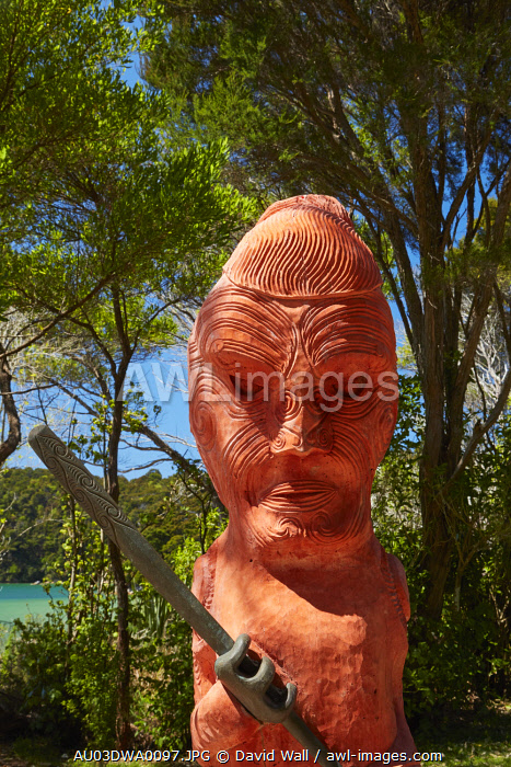 Maori carving at Anchorage, Abel Tasman National Park, Nelson Region, South Island, New Zealand