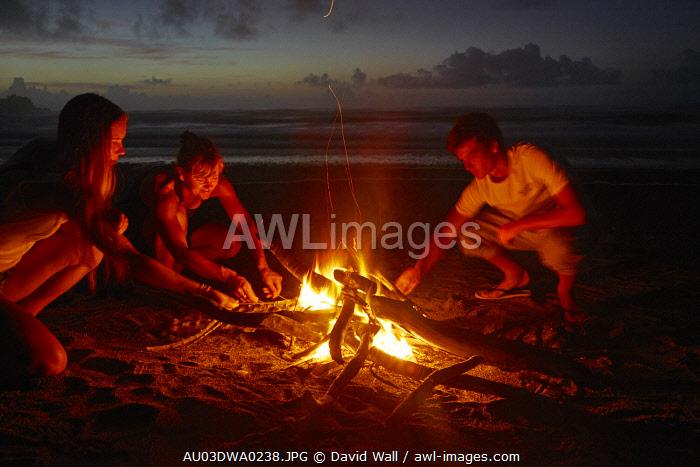 Family Toasting marshmallows on the Beach, Punakaiki, West Coast, South Island, New Zealand (MR)