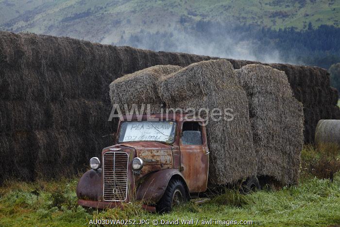 Vintage Commer truck with hay bales, Hawea Flat, near Wanaka, Otago, South Island, New Zealand