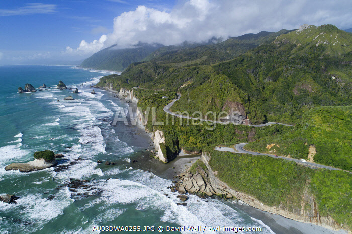 State Highway Six at Ten Mile Creek, north of Greymouth, West Coast, South Island, New Zealand