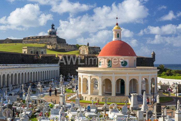 El Morro Fort stands guard over historic Santa Maria Magdalena de Pazzis Cemetery in old San Juan, Puerto Rico