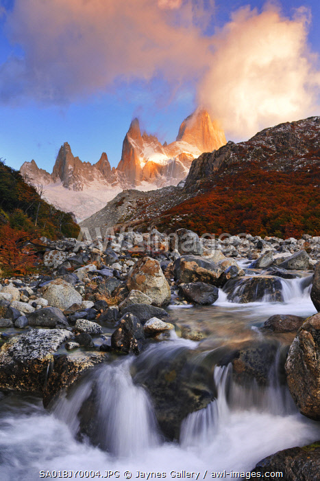 Argentina, Patagonia, Los Glaciares National Park. Mount Fitz Roy and Rio Blanco river at sunrise