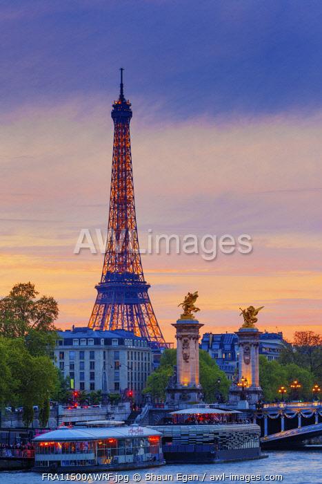 France, Paris, Eiffel Tower illuminated at night and river Seine