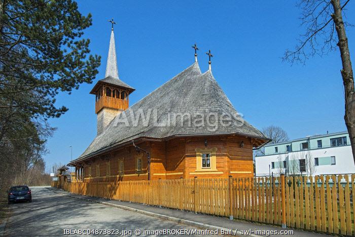 Wooden church, Romanian Orthodox Parish, Parohia Buna Vestire, Munich, Upper Bavaria, Bavaria, Germany, Europe