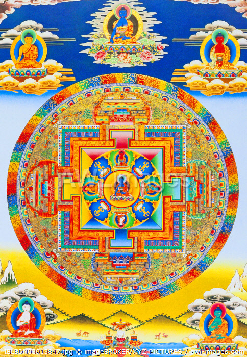 Akshobhya Mandala, depicting the imperturbable Buddha as Bhumi Sparsa Mudra with the earth bearing witness to his enlightment, Nepal, Asia